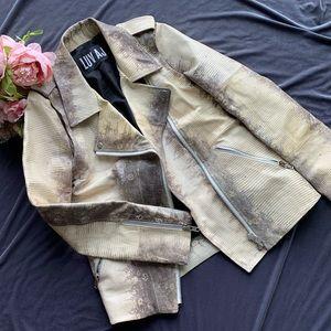 Luv AJ Cream Snakeskin Leather Moto Jacket